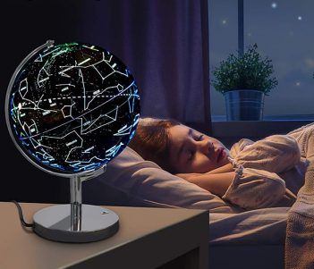 Celestial Globe Lamp Shows Earth During The Day, Constellations At Night