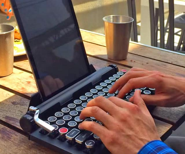 Qwerkywriter S Typewriter Mechanical Wired & Wireless Keyboard with Tablet Stand