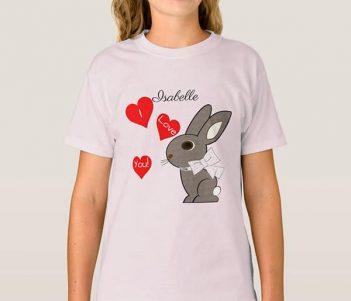 Valentine Rabbit I Love You Girls T-Shirts